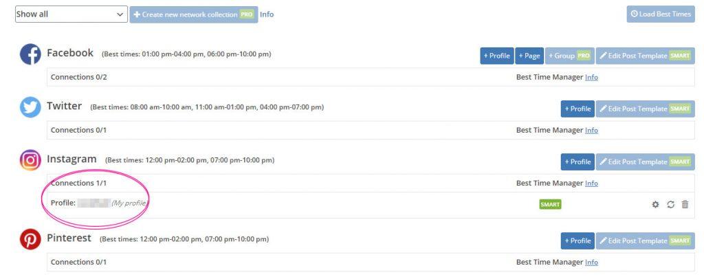 「Blog2social」のNetworksを確認